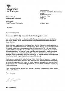 DfT Letter for Essential Workers in Logistics